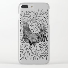 Le Coq – Watercolor Rooster with Black Leaves Clear iPhone Case
