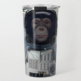 chimpanzee astronaut and space dust in the universe Travel Mug