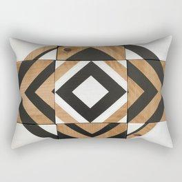Modern Wood Art, Black and White Chevron Pattern Rectangular Pillow