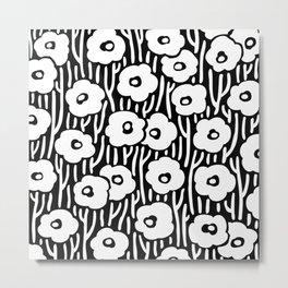 Mid Century Modern Wild Flowers Black and White 681 Metal Print