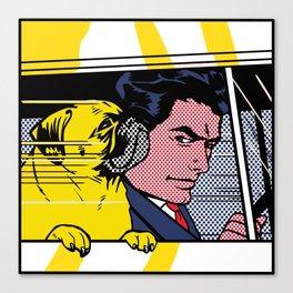 Pug In The Car Canvas Print
