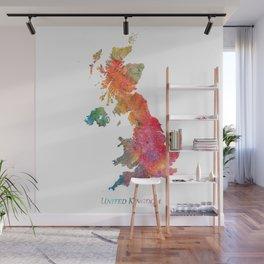 United Kingdom Watercolor Map Art by Zouzounio Art Wall Mural