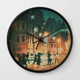 A Snowy Night in New York Watercolor Wall Clock
