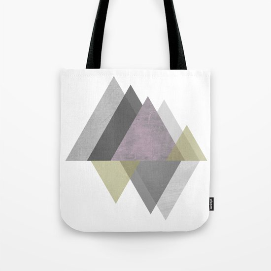 To the Mountains I Must Go, Abstract Geometric Art Tote Bag
