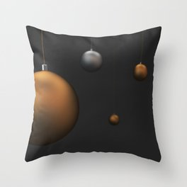 Set of gold and silver christmas balls Throw Pillow