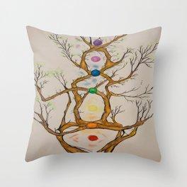Align the Spirit-Chakra Tree Throw Pillow