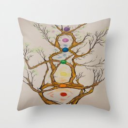 Align the Spirit-Chakra Tree Throw Pillow