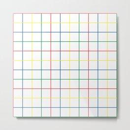 Primary Windowpane Grid Metal Print