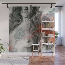 Edit Your Wounds (nude mandala girl erotic drawing) Wall Mural