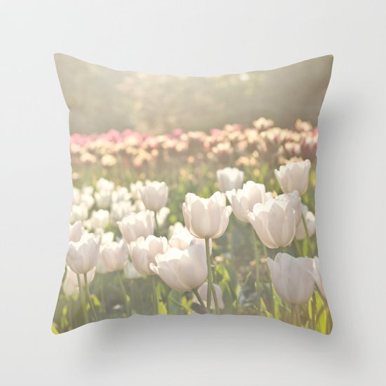 Tulips sunbathed Throw Pillow