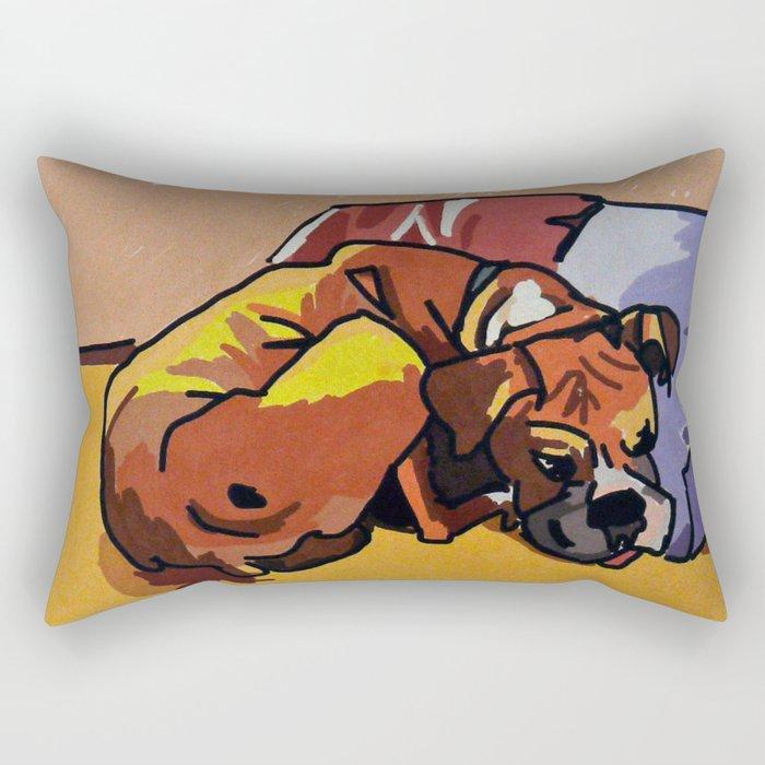 Whimsical Boxer Dog Illustration Rectangular Pillow