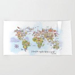 World Map Watercolor Beach Towel
