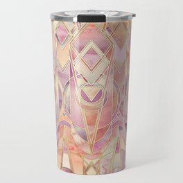Glowing Coral and Amethyst Art Deco Pattern Travel Mug