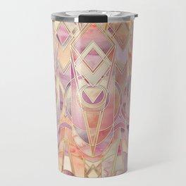 Glowing Coral and Amethyst Art Deco Pattern Travel Mug