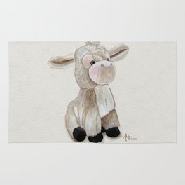 Cuddly Donkey Watercolor Rug