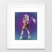 manga Framed Art Prints featuring Manga Unicorn2 by Illu-Pic-A.T.Art