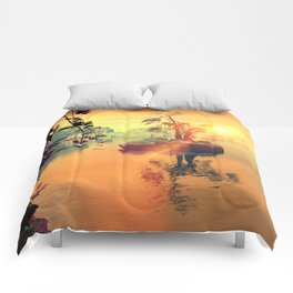 Awesome golden sunset  Comforters