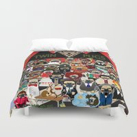 pugs Duvet Covers featuring Twin Pugs by Dark Lord Pug
