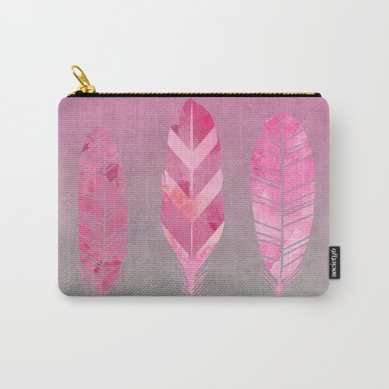 Feathers pink grunge watercolor art Carry-All Pouch