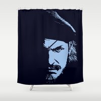 metal gear solid Shower Curtains featuring Big Boss (Snake / metal gear solid) by TxzDesign