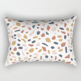 Terrazzo tile - sunset, rust, ochre, mustard, yellow, blue, earth tones, neutral, pattern Rectangular Pillow