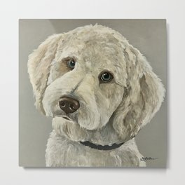 Golden Doodle Art, Pet Painting, Cute Dog Art Metal Print