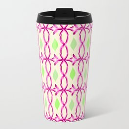 pink decor and leaves pattern Travel Mug