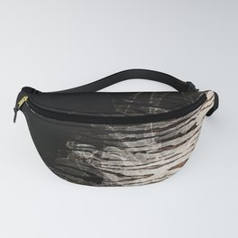 Modern Black Ink Oak Wood Fanny Pack