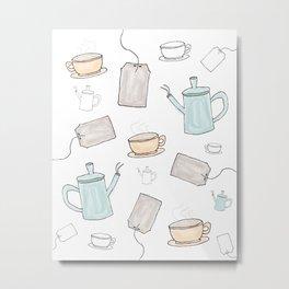 Tea Pattern Party Metal Print