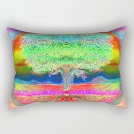Neon Glow Tree of Life Rectangular Pillow