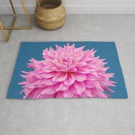 Floral Art Pink Dahlia Blue Rug