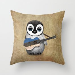 Baby Penguin Playing Estonian Flag Acoustic Guitar Throw Pillow