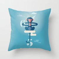 pixies Throw Pillows featuring Monkey Gone to Heaven by DWatson