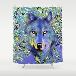 WOLF IN THE GARDEN Shower Curtain
