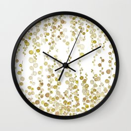 golden string of pearls watercolor Wall Clock