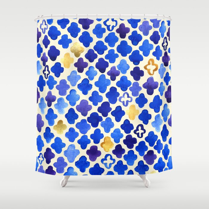Rustic Watercolor Moroccan in Royal Blue & Gold Shower Curtain by ...