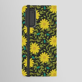 Sunflowers on Black Android Wallet Case