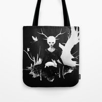 bunny Tote Bags featuring Space Within by Ruben Ireland