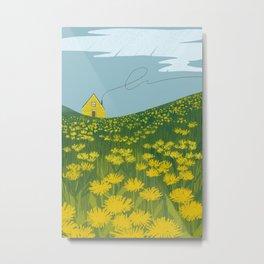 Little Yellow House In A Dandelion Field Metal Print