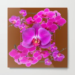 Coffee Brown Color Abstracted Modern Purple Moth Orchids Metal Print