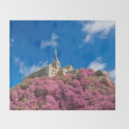 Mont Saint-Michel Abbey - Pink Fantasy Throw Blanket