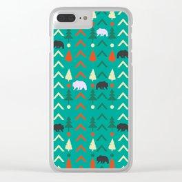 Winter bear pattern in green Clear iPhone Case