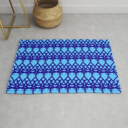 Wicker twisted pattern of wire and blue arrows on a light blue background. Rug