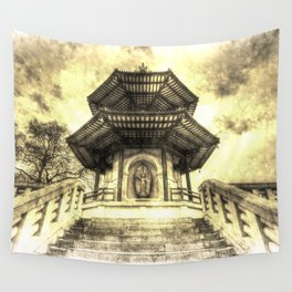 The Pagoda Battersea Park London Vintage Wall Tapestry