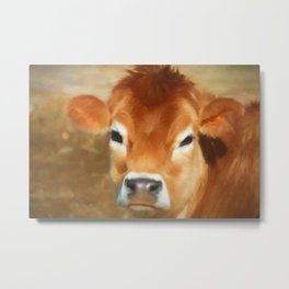 Adorable Cow Face Metal Print