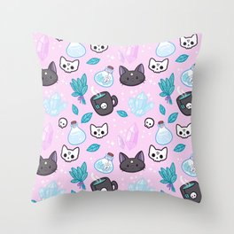 Herb Witch // Pink Throw Pillow