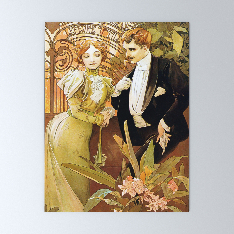 Alphonse Mucha Flirt Vintage Romantic Art Nouveau Mini Art Print By Artgallery Society6