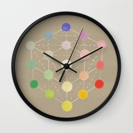 Colour cube (white point) from the Manual of the science of colour by W. Benson, 1871, Remake, vinta Wall Clock