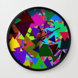 Abstract geometrical neon pink green triangles pattern Wall Clock
