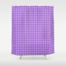 Lilac with Black Grid Shower Curtain